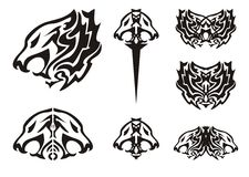 Tribal lion head symbols tattoos Stock Images