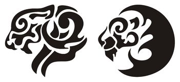 Tribal lion head tattoo, vector Royalty Free Stock Photo