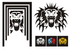 Tribal lion head - variants. Tribal frightening lion head with an open mouth ready for a tattoo, graphics on the vehicle, also for labels, stickers and T-shirt Royalty Free Stock Image
