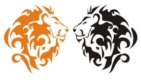 Tribal lion heads, vector Stock Image