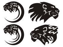 Tribal lion symbols, vector. Tribal lion symbols isolated on a white background Royalty Free Stock Photography
