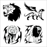 Tribal lions. Set of black and white vector illustrations. Stock Photos
