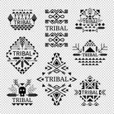 Tribal logos set. In black color, vector illustration Stock Images