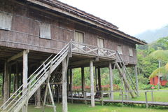 Tribal longhouse architecture stock image