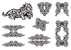 Tribal lynx symbols Royalty Free Stock Images