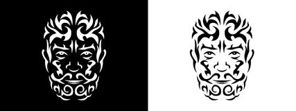 Tribal man portrait, Man portait in tribal style illustration in black and white. Man portrait poster in tattoo style Stock Photos