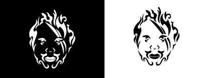 Tribal man portrait, Man portait in tribal style illustration in black and white. Man portrait poster in tattoo style Royalty Free Stock Image