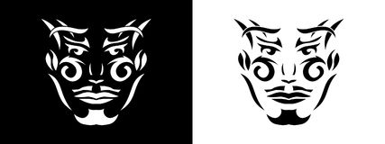 Tribal man portrait, Man portait in tribal style illustration in black and white. Man portrait poster in tattoo style Royalty Free Stock Photo