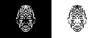 Tribal man portrait, Man portait in tribal style illustration in black and white. Man portrait poster in tattoo style Royalty Free Stock Photos