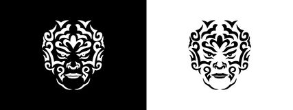 Tribal man portrait, Man portait in tribal style illustration in black and white. Man portrait poster in tattoo style Stock Images