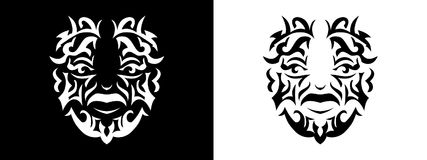 Tribal man portrait, Man portait in tribal style illustration in black and white. Man portrait poster in tattoo style Stock Photography