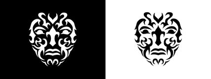 Tribal man portrait, Man portait in tribal style illustration in black and white royalty free illustration