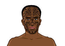 Tribal man with tattoos Royalty Free Stock Photography