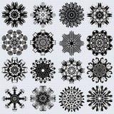 Tribal mandala collection of monochrome symbol vector illustration Stock Photography