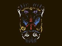 Tribal mandrill illustration. Mandrill in tribal style, ornamental mandrill color illustration on black background Royalty Free Stock Photography