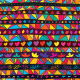 Tribal many line colorful shape seamless pattern Royalty Free Stock Images