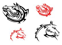 Tribal mascots with red and black horses Royalty Free Stock Photos