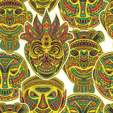 Tribal mask collection. Colorful seamless pattern with ethnic ornament. Royalty Free Stock Photography