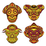 Tribal mask. Collection of masks with ethnic geometric ornament. Royalty Free Stock Images