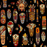 Tribal mask ethnic, seamless pattern, sketch for your design Stock Images