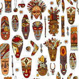 Tribal mask ethnic, seamless pattern, sketch for your design Royalty Free Stock Image