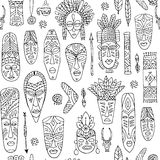 Tribal mask ethnic, seamless pattern, sketch for your design Stock Image