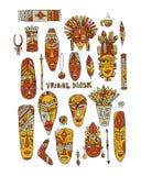 Tribal mask ethnic set, sketch for your design Stock Images
