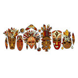 Tribal mask ethnic set, sketch for your design Royalty Free Stock Photo