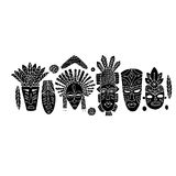 Tribal mask ethnic set, sketch for your design Royalty Free Stock Photos