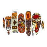 Tribal mask ethnic set, sketch for your design Royalty Free Stock Image