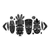 Tribal mask ethnic set, sketch for your design Stock Image