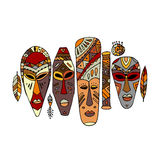 Tribal mask ethnic set, sketch for your design Stock Photos