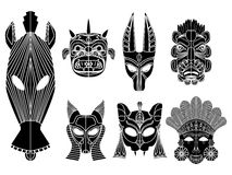 Tribal mask set Stock Images