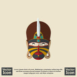 Tribal mask symbol. Flat style icon with tribal mask symbol Stock Image