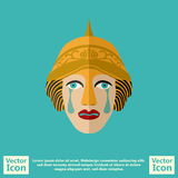 Tribal mask symbol. Flat style icon with tribal mask symbol Royalty Free Stock Image