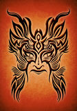 Tribal mask tattoo illustration. On a red texture Stock Photo