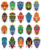 Tribal mask vector African face masque and masking ethnic culture in Africa illustration set of traditional masked. Symbol on white background Stock Illustration