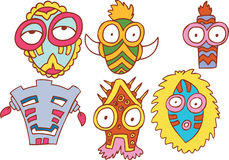 Tribal Masks. Collection of six tribal style masks Stock Photos