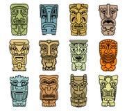 Tribal masks of idols and demons Stock Photography