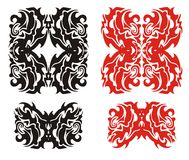 Tribal monster elements. Red and black on the white Stock Image