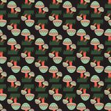 Tribal Mushrooms Seamless Pattern stock illustration