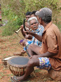 Tribal musicians play dance music Royalty Free Stock Photo