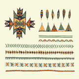 Tribal native American hand drawn set of symbols and design elem royalty free illustration