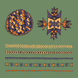 Tribal native American hand drawn set of symbols and design elem Royalty Free Stock Photo