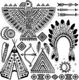 Tribal native American set of symbols. Tribal vintage native American set of symbols stock illustration