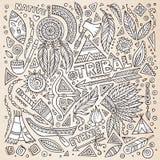 Tribal native American sketch set of symbols. Tribal abstract native American set of symbols royalty free illustration