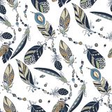 Tribal native seamless pattern with feathers and beads in vector. Graphic illustration with white background Royalty Free Stock Photos