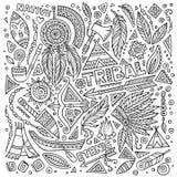Tribal native set of symbols. Tribal abstract native American set of symbols vector illustration