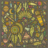 Tribal native set of symbols Royalty Free Stock Image