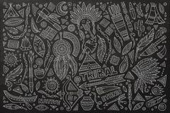 Tribal native set of symbols. Tribal abstract native ethnic American set of symbols Royalty Free Stock Image